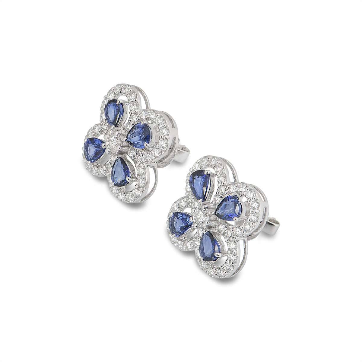 White Gold Sapphire and Diamond Earrings